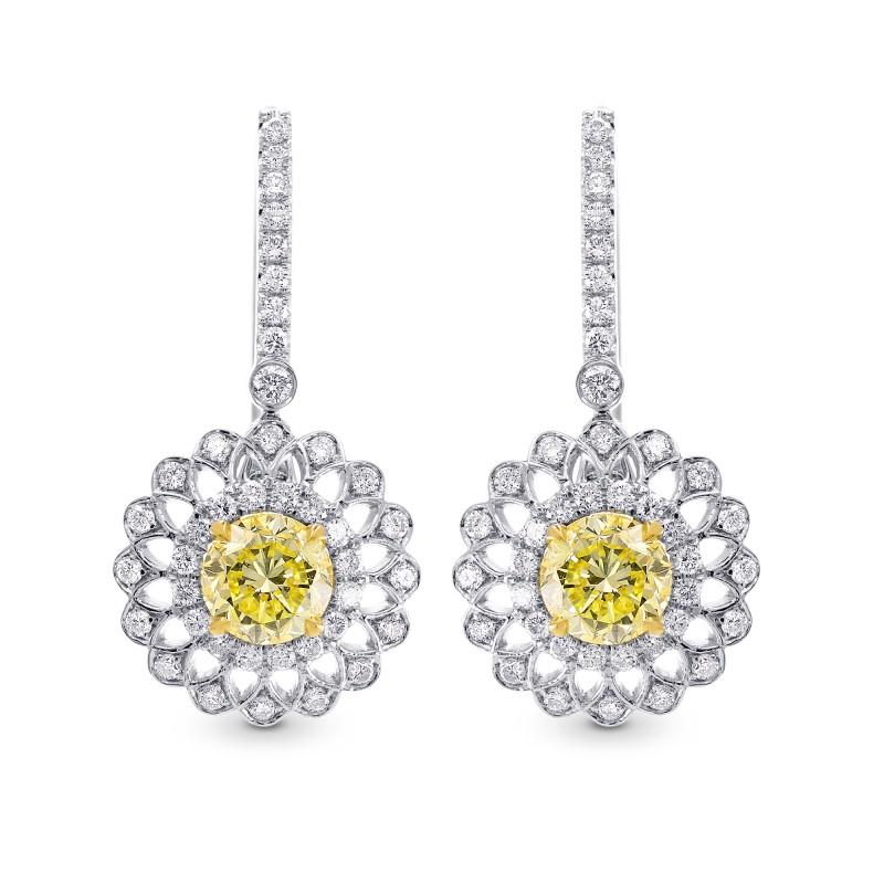 Natural Fancy Yellow Diamond Drop Earrings In 18 Karat White Gold
